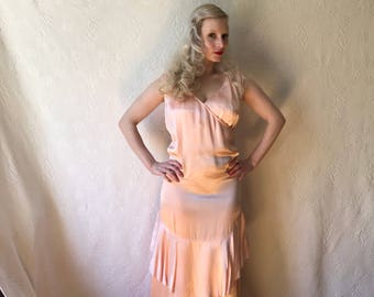 Vintage 1920s 1930s ruffled peach satin gown