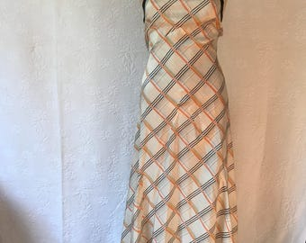 Vintage 1930s deadsrock biascut pongee silk dress XS