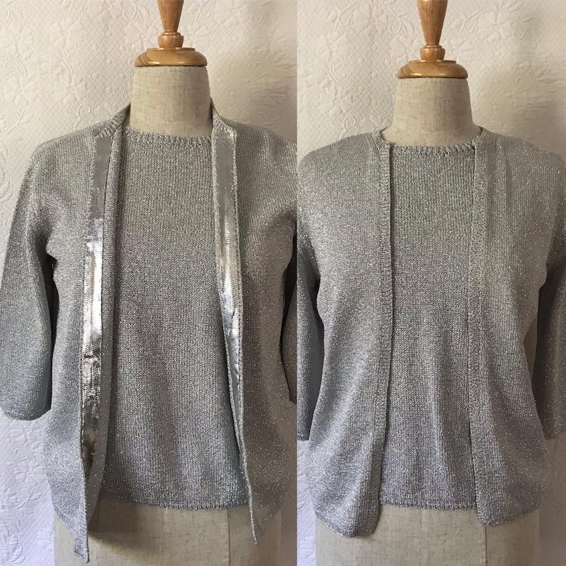 1960s stunning silver knit metallic twin set