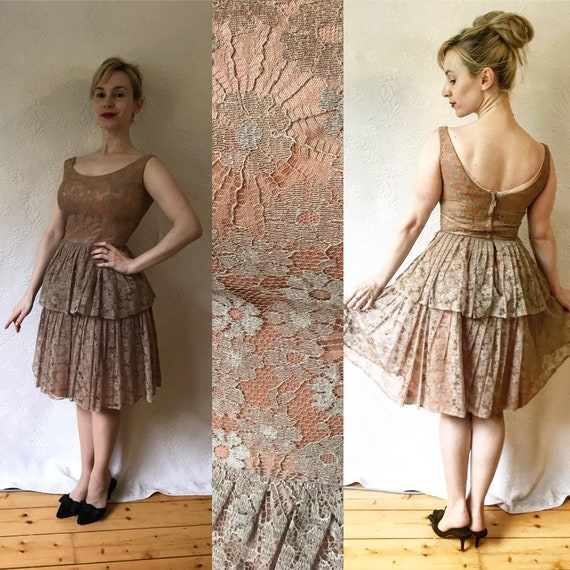 1960s spiderweb lace layered skirt two tier cafe l