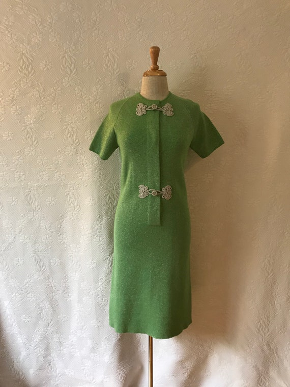 Lime lurex vintage 1960s italian mod scooter dress