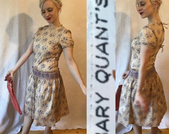 1960s Mary Quant silk blackberry heliotrope leaf print smocked dress mod scooter frock