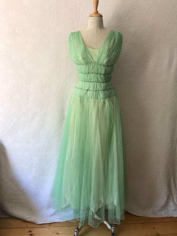 1940s Hartnell mint diamonte studded tulle frock