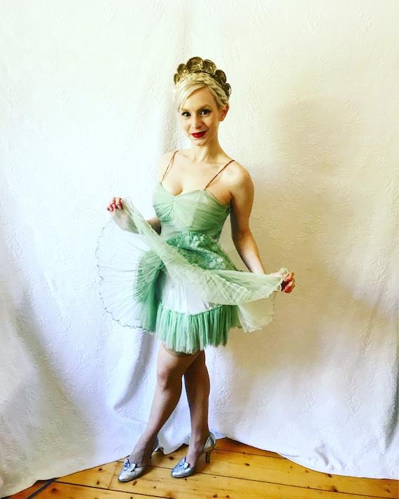 1930s burlesque mint green lace & diamontè costume