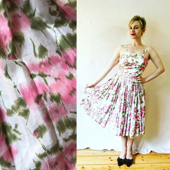 1950s abstract pink rose print dress Xs S
