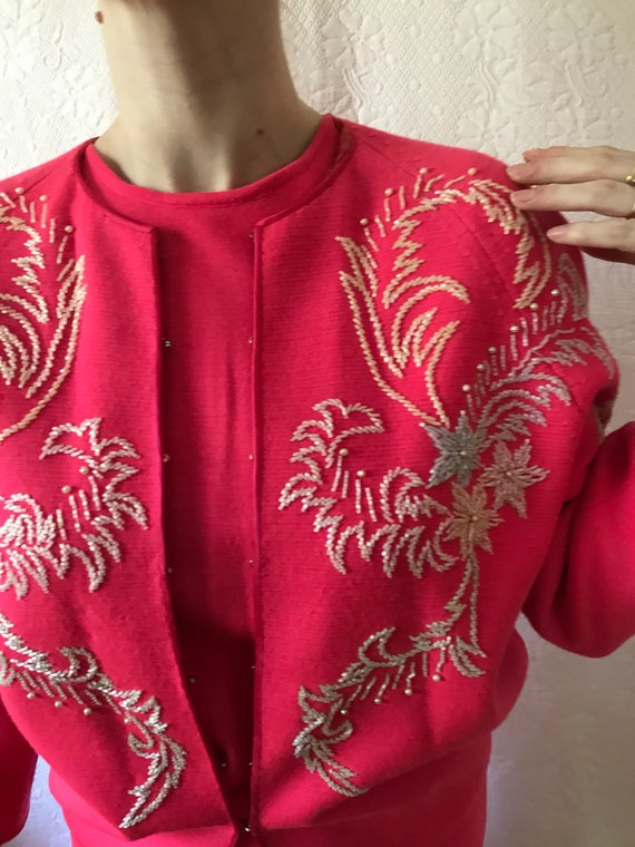 1950s hot pink knit set 3 piece pure wool beaded s