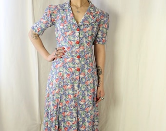 1930s house coat novelty print cotton gown bakelite buttons