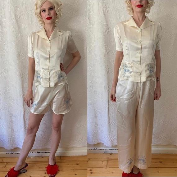 1930s cream satin embroidered pyjamas lounge three
