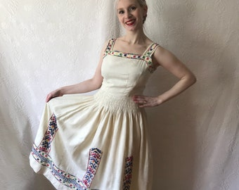 1940s linen hand embroidered folk dress possibly hungarian 1930s