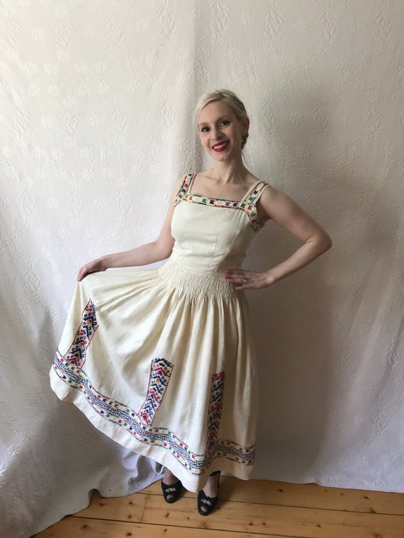 1940s linen hand embroidered folk dress possibly h