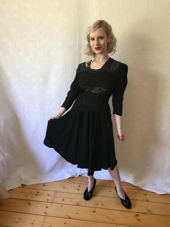 Vintage 1930s rayon & lace dress