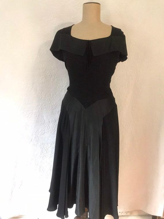 1930s crepe & taffeta party dress - image 5