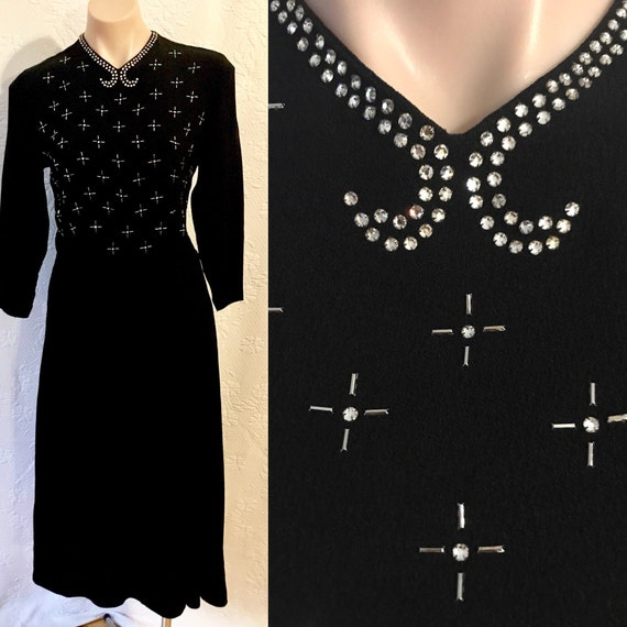 1930s studded & diamentè set crepe dress