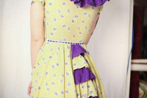 1930s ruffled prairie rose floral print dress XS S - image 6