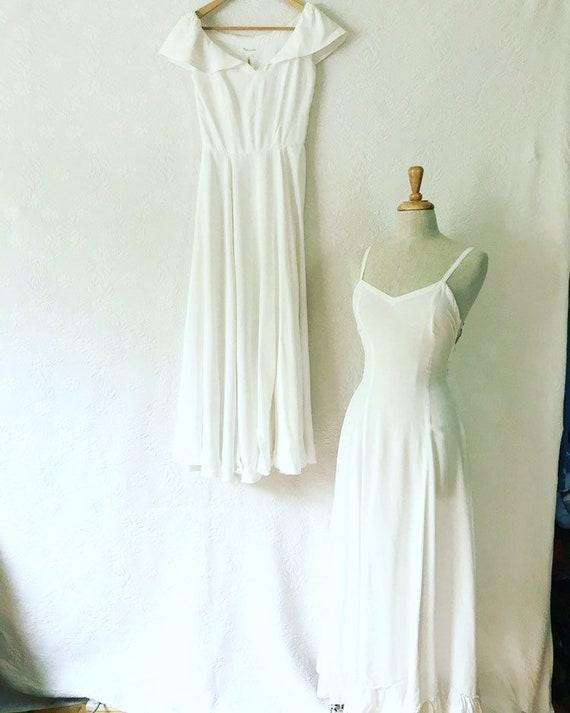 1930s cold rayon wedding slip & dress bride vintag