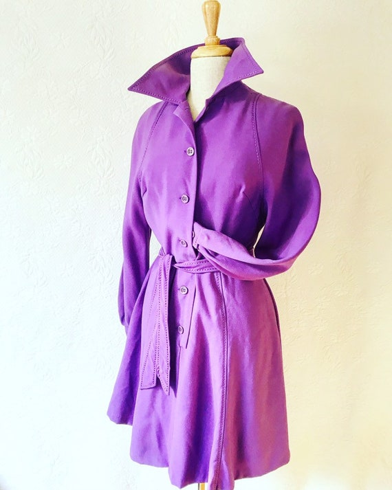 1970s Bright purple wool A-line trench dress frock