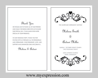 scroll wedding programs etsy