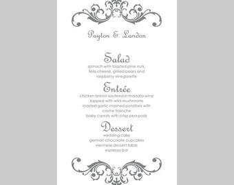 Wedding Menu Card Template Flower Blooms Hot Pink Etsy