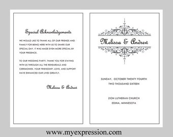 wedding program template purple filigree instant download etsy