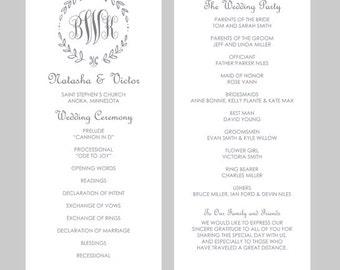 word template wedding program