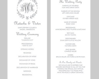 wedding program template tea length leaf monogram black etsy