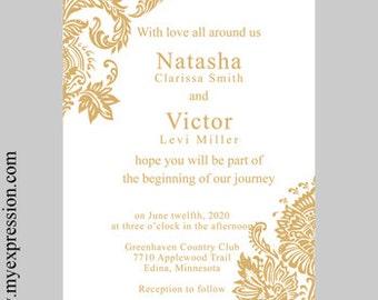 Wedding Invitation Template 5x5 Square Silver Gray Damask Etsy