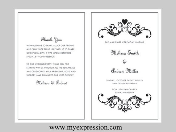 wedding program template bifold black vintage heart scroll etsy