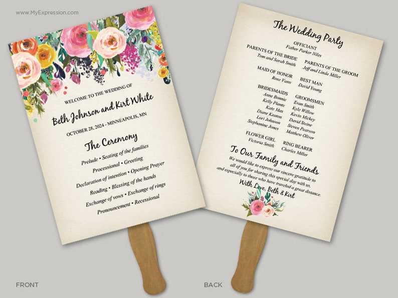 Rustic Painted Floral 5x7 Wedding Program Fan Template (8411) - INSTANT  DOWNLOAD Template - Ready to Print - Editable PDF