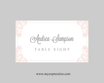Wedding Place Cards Template – Light Pink Damask - Instant Download - Editable MS Word File