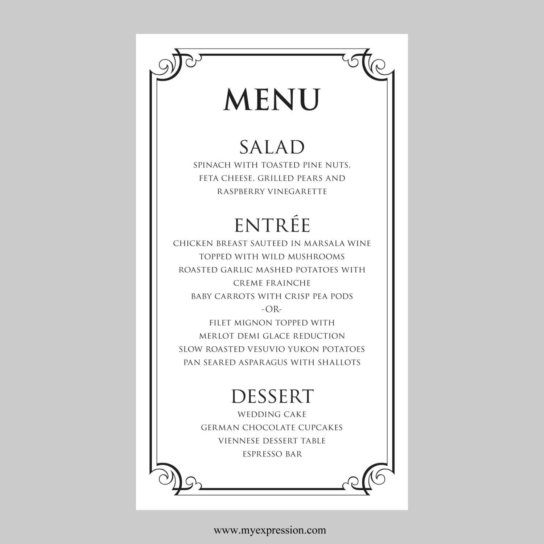 Menu Matrimonio In Word : Matrimonio menu scheda modello cornice nera ornato etsy