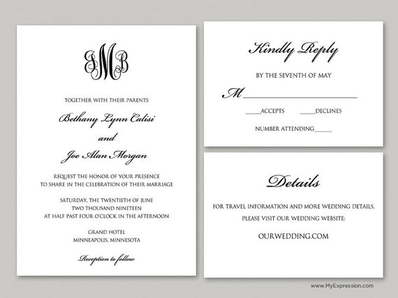 Elegant Monogram Wedding Invitations: Elegant Monogram Wedding Invitation Set 9089 INSTANT