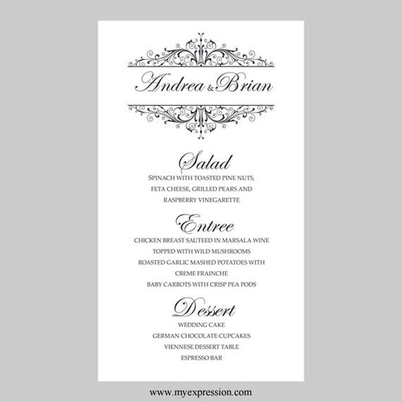 Hochzeit Menü Karte Vorlage Vintage Filigree schwarz