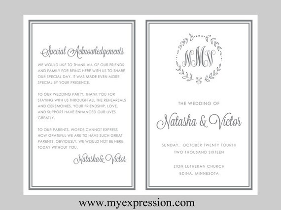 diy wedding program template bifold gray monogram leaf etsy