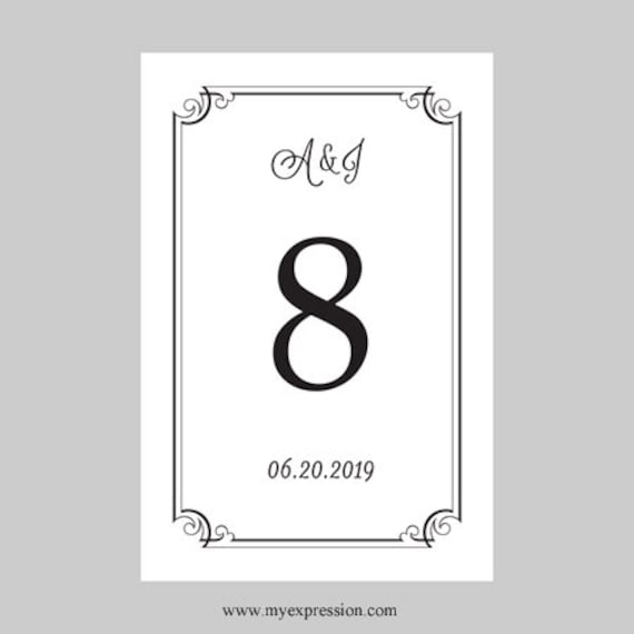 wedding table number card template 4x6 flat black ornate etsy