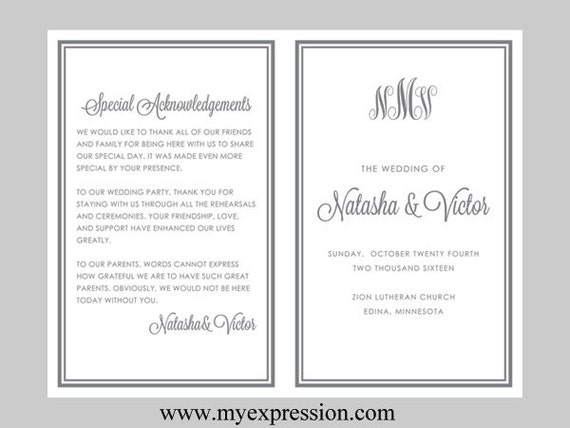 diy wedding program template bifold gray monogram instant etsy