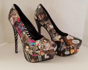 John Wick Comic Heels Comic Shoes John Wick Heels Cosplay Heels Keanu Reeves