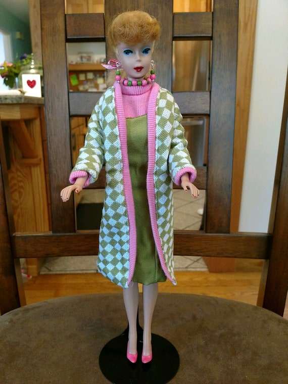 TOP JACKET BARBIE DOLL VINTAGE REPRODUCTION POODLE PARADE PINK GREEN CHECKERED