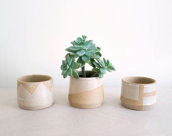 Geometric Ceramics Planter for Succulents and Airplants - Minimalist Home Decor - Farmhouse Style - Ready to Ship