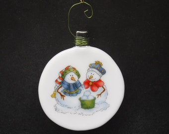 Slumped Glass Ornament with Decals