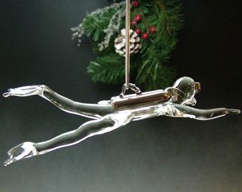 Blown Glass Scuba Diver Ornament