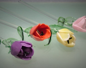 Hand Blown Glass Spring Tulip