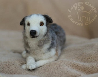 Dog Portrait // Memorial // Various coat lengths // Pet Memorial // Poseable // Made to Order // Needle Felted // Soft Sculpture //Custom