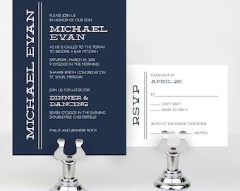 Simple Bar or Bat Mitzvah Invitation