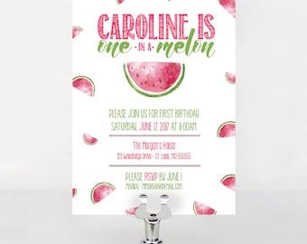 One in a Melon Birthday Invitation