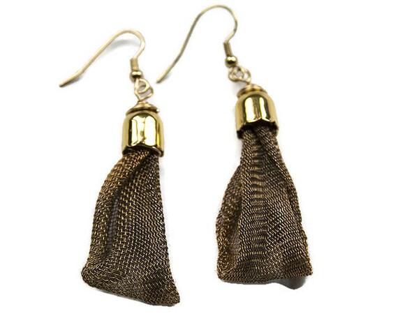 Copper Mesh Dangle Earrings
