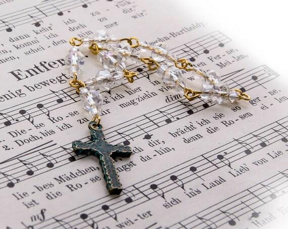 Swarowski crystal bead mini Rosary with Celtic cross