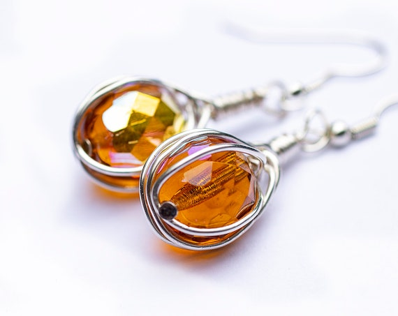 Yellow crystal bead earrings by GunaDesign