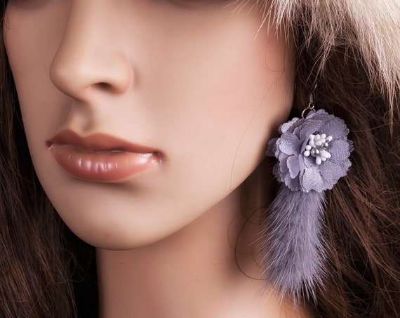 Steel gray fur tassel earrings by GunaDesign