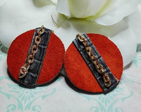 Orange leather earrings by GunaDesign