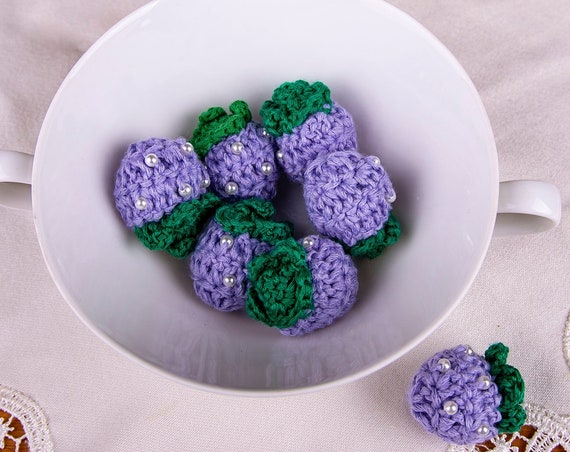 Purple crochet strawberry applique for decoration